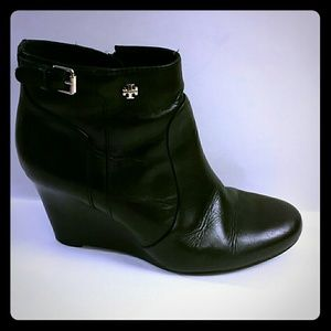 Tory Burch Milan Logo Wedge Black Ankle Boots